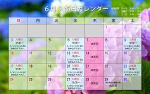 2018年6月の入所日カレンダー