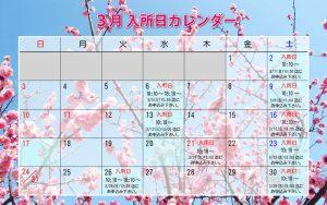 2019年3月入所日カレンダー